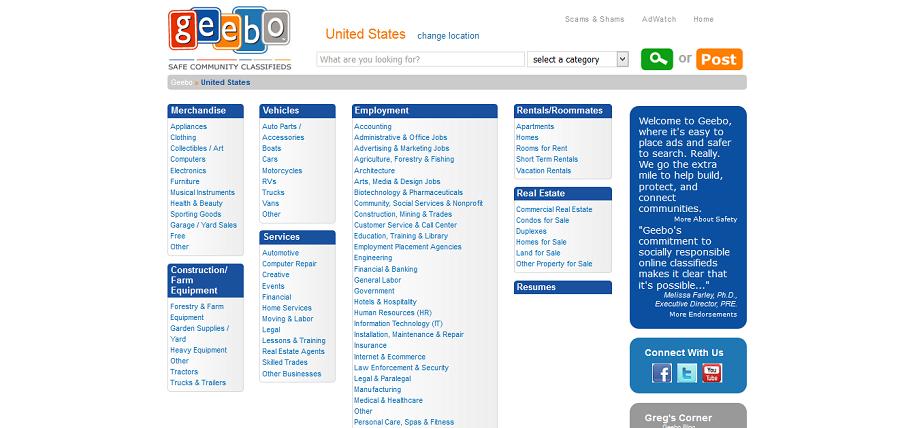 free website promotion - Geebo